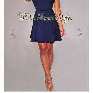 3f6e699cbb Hot Miami Styles Dresses - Navy-Blue Textured Open Sides Skater Dress